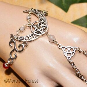 Triple Goddess Crescent Moon Bracelet Ring - Pagan Jewellery, Wicca, Pentacle