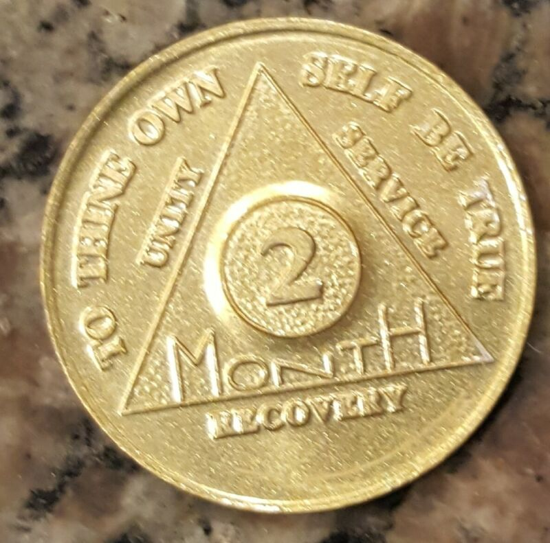 Alcoholics Anonymous AA 2 Month Aluminum Medallion Coin Chip token Sobriet Sober