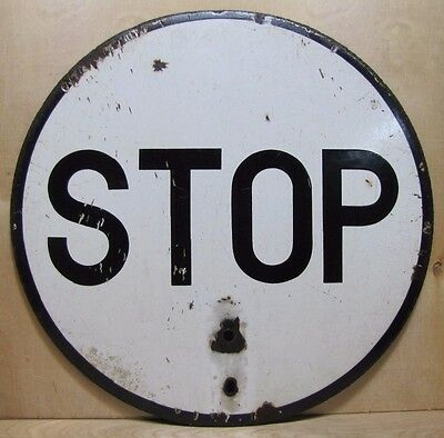Old Porcelain STOP Sign 2x black white round Industrial safety railroad street