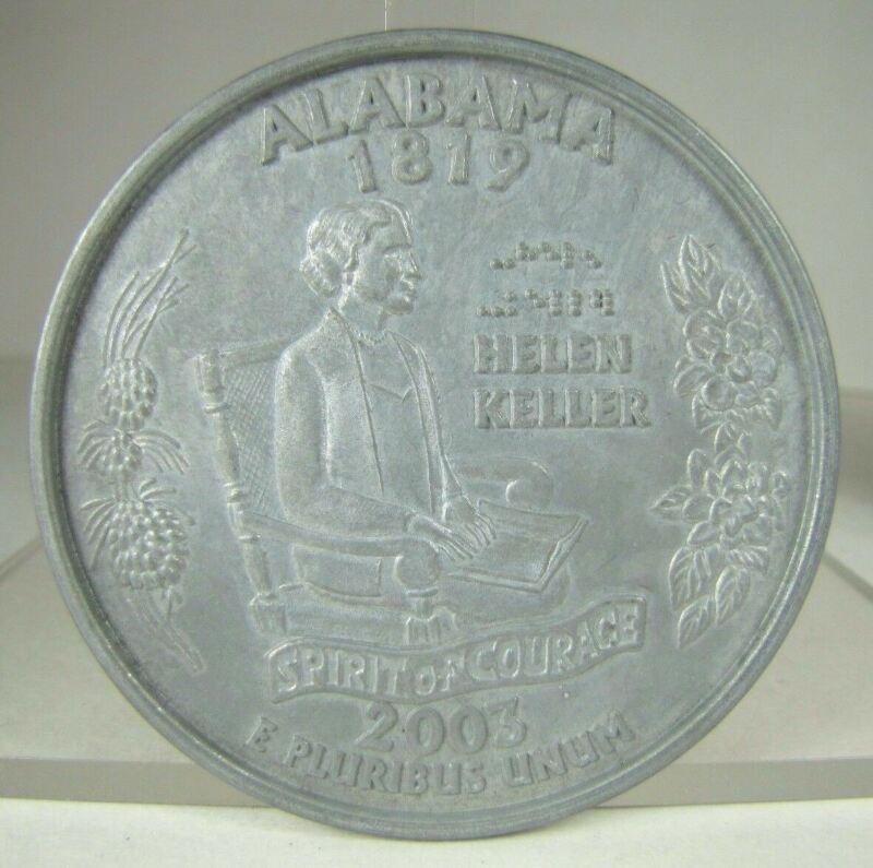 "ALABAMA Souvenir Paperweight Helen Keller Quarter Dollar large cast metal 3"" 25c"