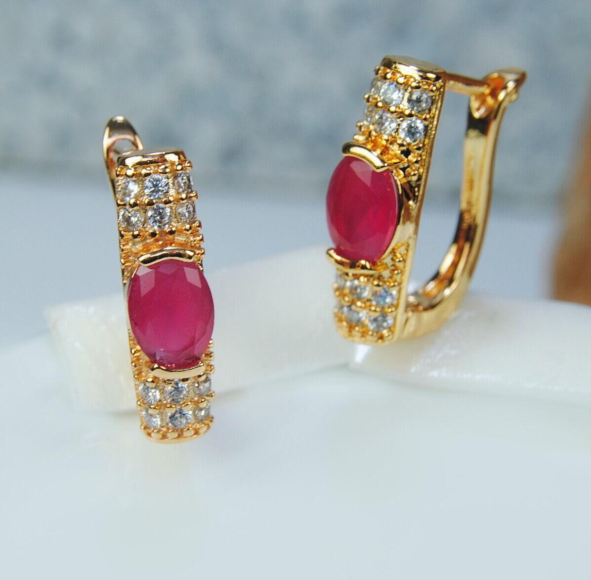 +Topas Ohrringe extravagante Damen-Ohrringen vergoldet 18K//750 Edelstein Ruby