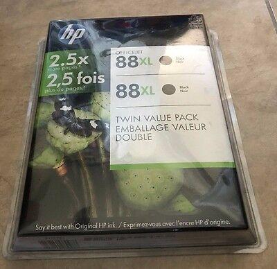 LOT 3 Genuine HP Brand 88XL Black Ink Cartridge NEW Sealed Expired 2 Pack + 1