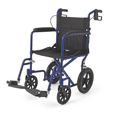 Medline Transport Chair Wheelchair Light Weight Aluminum w/ Hand Brakes BLUE