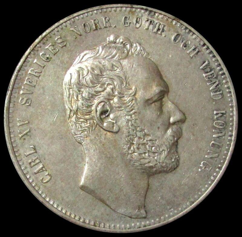 1862 SILVER NORWAY 4 RIKSDALER KING CARL XV EXTRA FINE