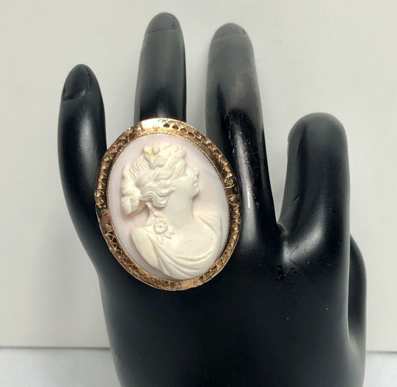"Vintage Ring  14k solid Rose Gold ""Cameo"""