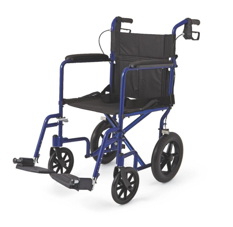 """Aluminum Transport Chair with 12"""" Wheels,Blue,F: 8   R: 12, Case of 1"""