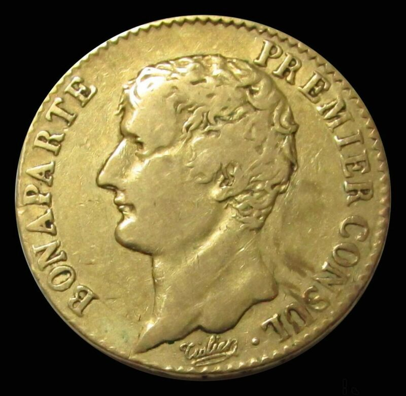 AN 12 (1803) GOLD FRANCE NAPOLEON BONAPARTE 20 FRANCS 6.45 GRAMS COIN EXTRA FINE