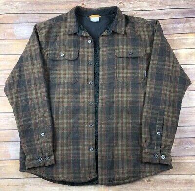 Columbia Flannel Wool Blend Shirt Jacket Plaid Check Fleece Lined Mens XL Brown Plaid Wool Blend Flannel