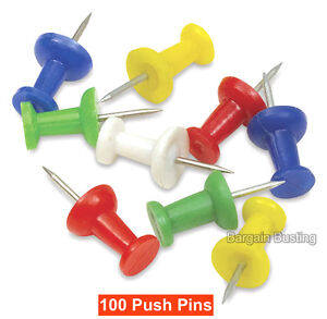 100 x PUSH PIN ASSORTED PACK MULTI-COLOURED PUSH DRAWING PINS NOTICE CORK BOARD