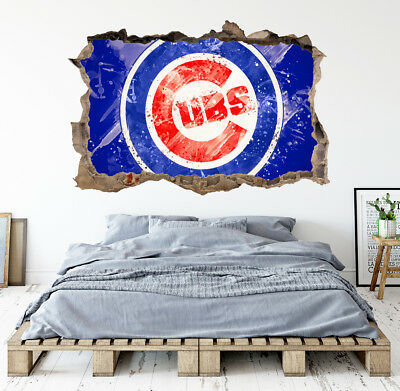 Chicago Cubs Wall Art Decal MLB Baseball Team 3D Smashed Wall Decor - Baseball Wall Decor