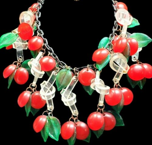 JAN CARLIN Signed Handcrafted Massive Red Cherry Bakelite Necklace RARE!