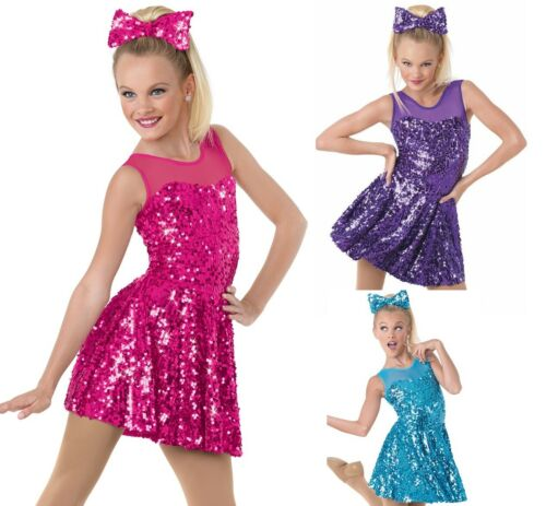 Dance Costume Medium/Large Child Purple Sequin Dress Jazz Tap DUET Competition