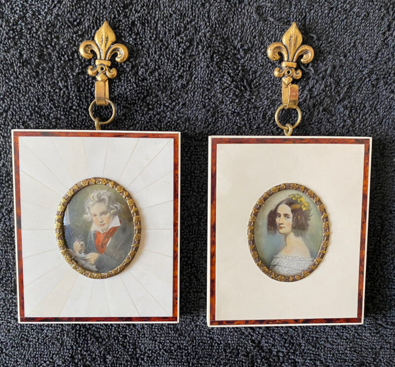 Antique Miniature Ivory Framed Hand Painted Portrait Paintings