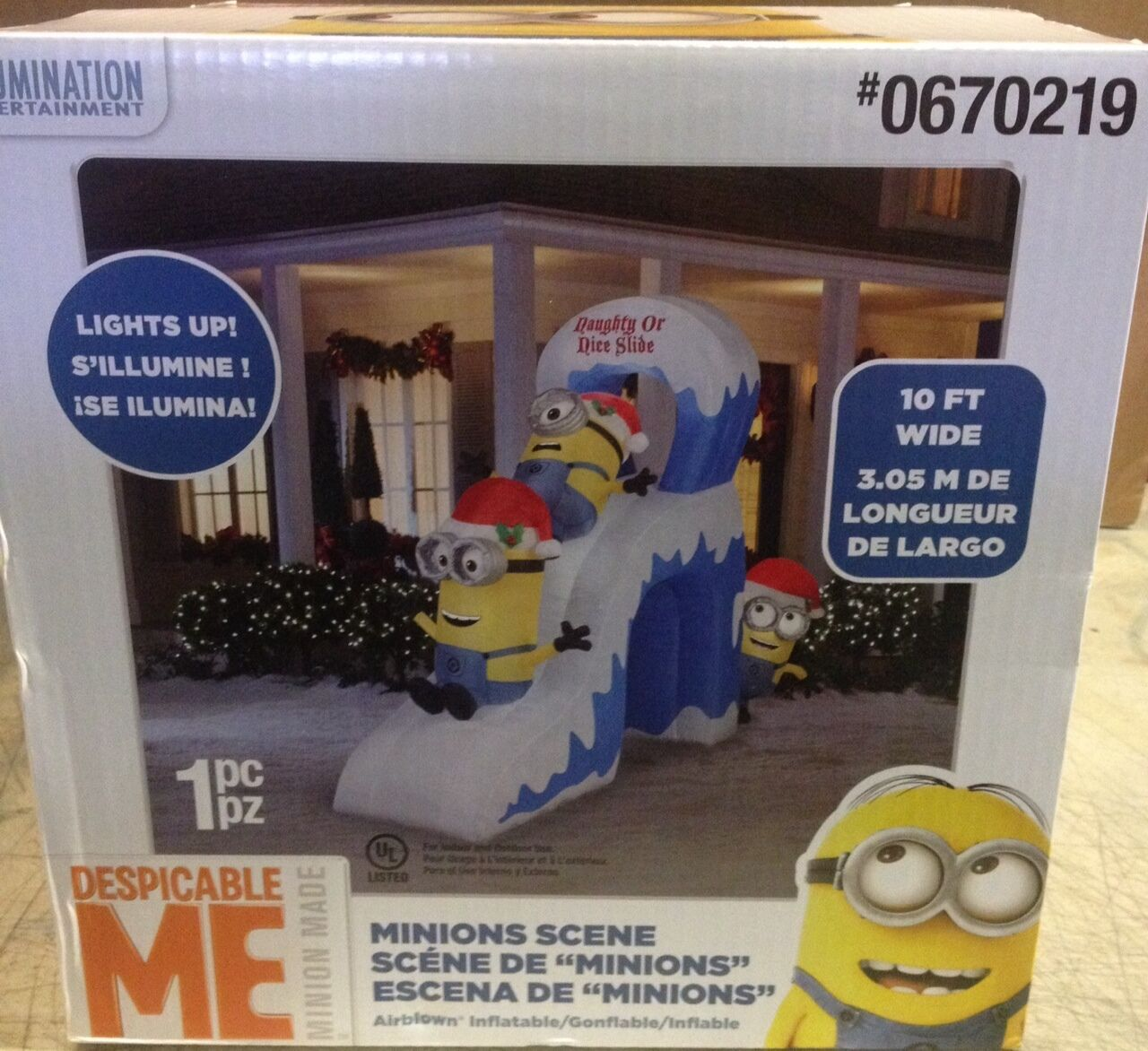 10' Minion Naughty Or Nice Slide Despicable Me Christmas Airblown Inflatable