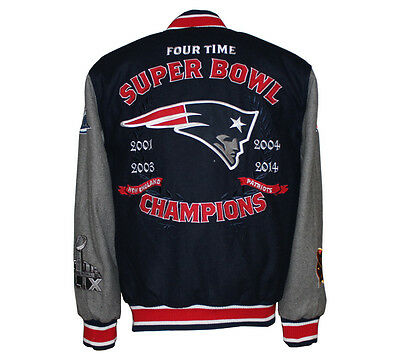 Nfl Mens New England Patriots 4 Time Super Bowl Champion Wool Reversible Jacket