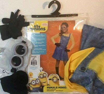 NEW MINIONS KEVIN Girls Halloween Costume Child Small 4-6 Goggles Suit Dress Set - Girl Minion Halloween Costume