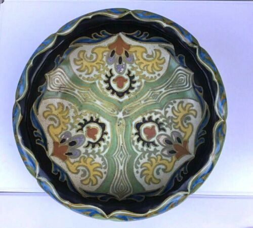 Antique 1867 Gouda Nouveau Pottery Bowl RARE