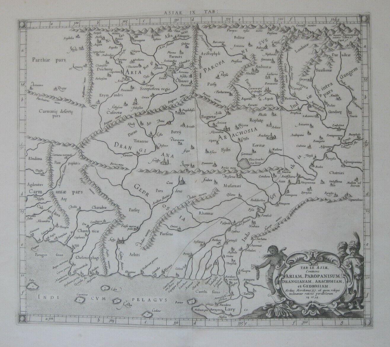 Original 1670 Ptolemy Gerard Mercator Map PAKISTAN INDIA AFGHANISTAN Indus River