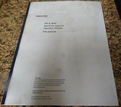 Tektronix 494 494p Operators Manual