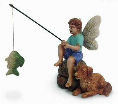 Miniature Fairy Garden Gone Fishin' Boy and  Dog fishing MG 79 Dollhouse Faerie