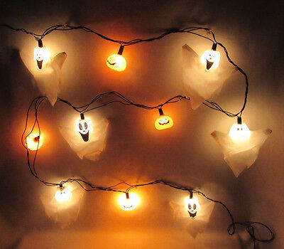 VINTAGE 1980s HALLOWWEN GHOST & JACK O' LANTERN LIGHTS SET OF 10