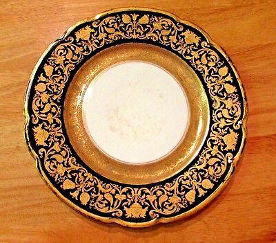Antique Black Knight Cobalt   Gilded Gold 10  Porcelain Dinner Plate