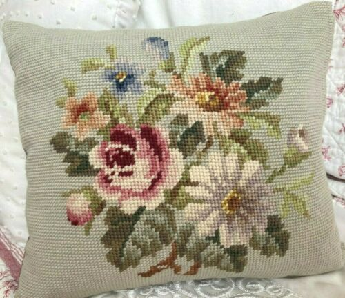 SMALL ROSE FLORAL NEEDLEPOINT PILLOW Pale Green/Violet Purple with Zipper 10x11