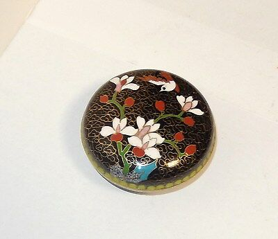 CHINESE CLOISONNE BLACK ENAMEL FLORAL BIRD DESIGN SMALL JAR BOWL BOX