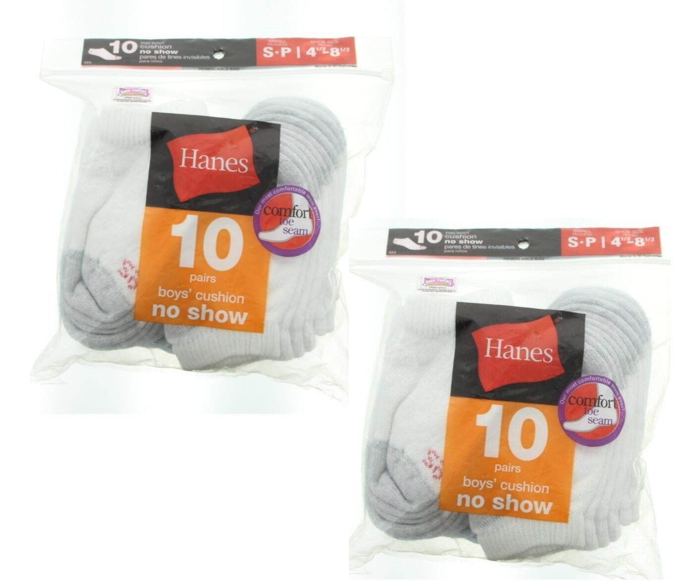 Hanes - Boys; No-Show Socks, 20 Pairs Value Bundle