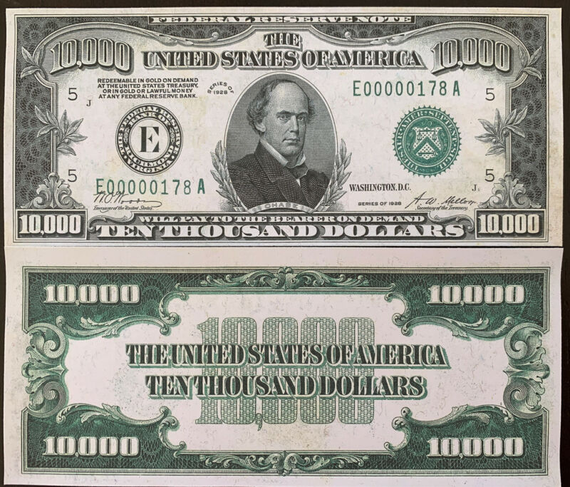 Reproduction United States 1928 $10,000 Bill Federal Reserve Note Copy USA