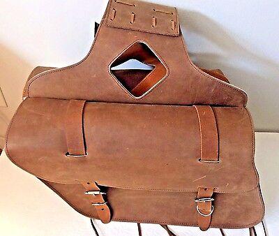 ( New genuine brown cowhide leather motorcycle saddle bags 15