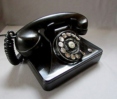 Vintage NORTH ELECTRIC Black Bakelite ROTARY DIAL TELEPHONE circa 1940's