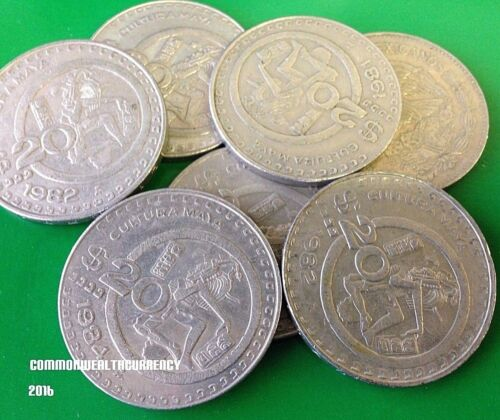 MEXICO $20 Peso, big vintage 1980s Mexican 20 Pesos coin, Aztec in Headdress
