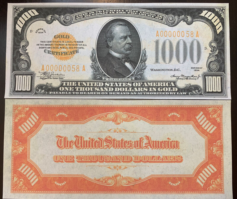 Reproduction United States 1934 $1,000 Bill Gold Certificate Copy USA Currency