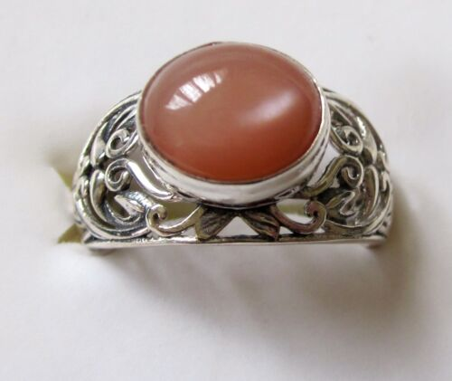 Peach Moonstone Filigree Ring, 925 Sterling Silver sz 10 --- 4.37cts, 6.4 grams