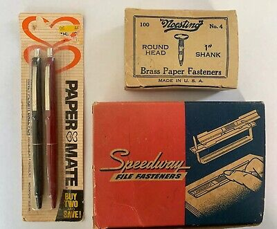 Vintage Office Supply Lot. File Fasteners Paper Fasteners. Pens.
