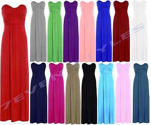 LADIES-SLEEVELESS-BOW-TIE-KNOT-BANDEAU-BOOBTUBE-LONG-JERSEY-TOP-MAXI-DRESS-8-14