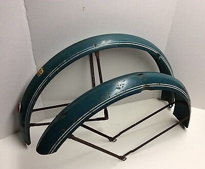 "Vintage 1940s Columbia Bicycle Fenders Peaked Original Goodyear Bike 26"" Balloon"