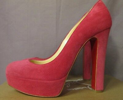 AUTHENTIC CHRISTIAN LOUBOUTIN BIBI PINK PIVOINE PLATFORM RED SOLE PUMP HEEL/38.5