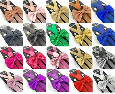 Suspender and Bow Tie Glitter Metallic Premium Como for Adults Women Men Teens  - Sparkle Suspenders