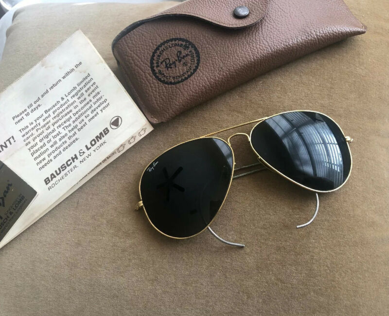 Vintage Ray-Ban Bausch & Lomb Aviator Sunglasses GOLD Wrap-Around Frames w/Case