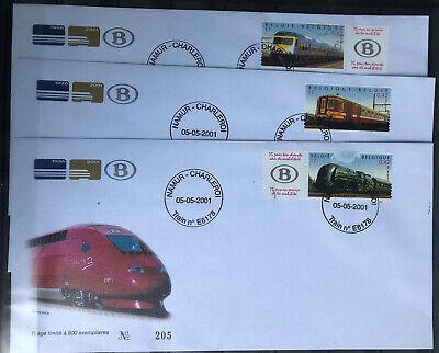 Belgique-België, 3 Beaux FDC Trains, 2001, Très Bien