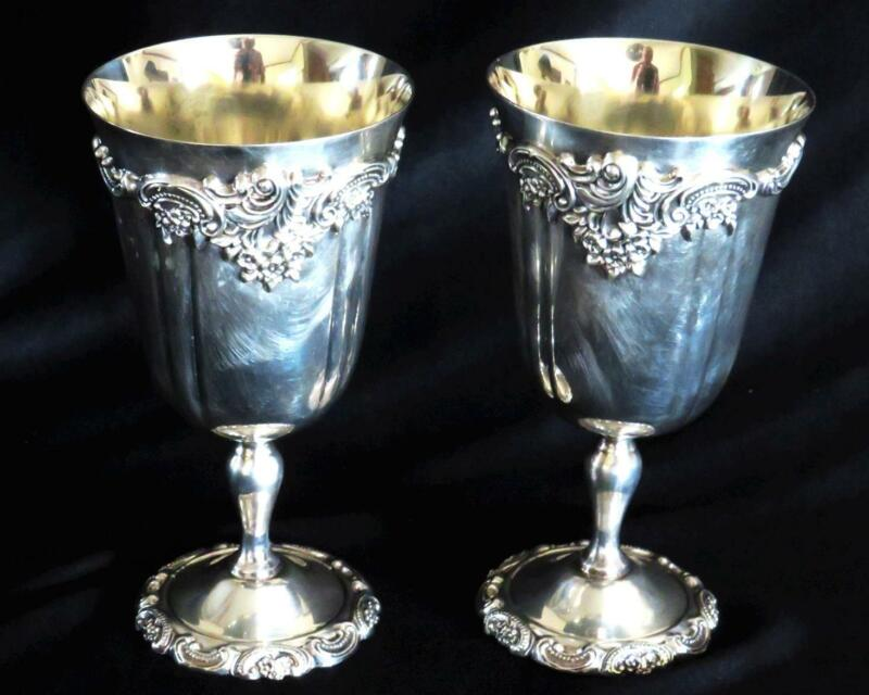 GORGEOUS VTG PAIR ORNATE BAROQUE BY WALLACE SILVER PLATED WATER GOBLETS #237