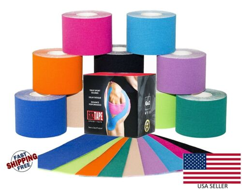 1 Roll 5m x 5cm Kinesiology Therapeutic Tape Elastic Sports Muscles Waterproof