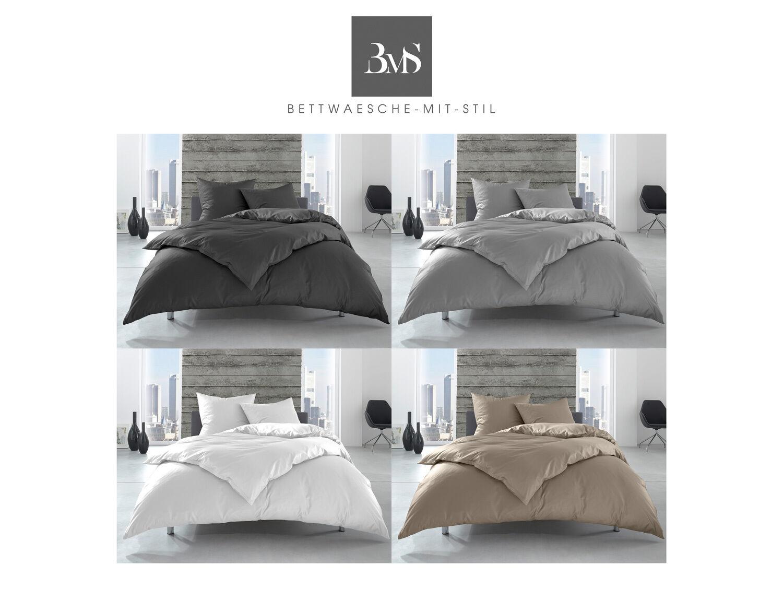 Renforcé / Linon Hotelbettwäsche 100% Baumwolle uni/einfarbig Reißverschluss