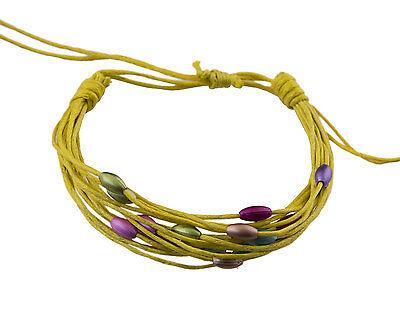 Bracelet multi fils jaune perles pastel tous poignets-Line bresilien Wrap 940 (Tous Armband Perle)
