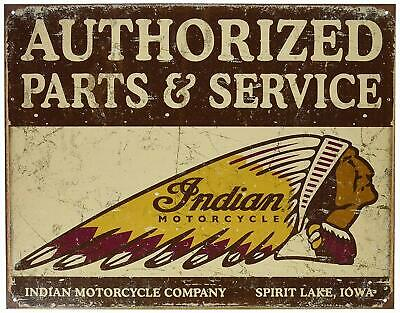 """Authorized Indian Parts and Service Tin Sign 16"""" W x 12.5"""" H"""