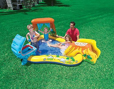 Intex Inflatable Children Dinosaur Play Center Paddling Pool Water Slide Sprayer