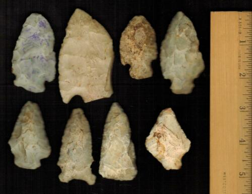 Native American 8 Authentic Indian Arrowheads Artifacts from Oklahoma Collection