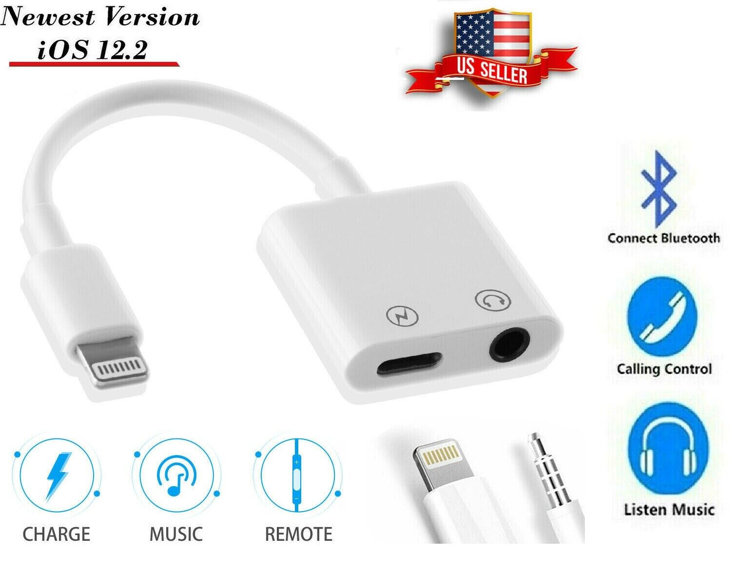2 IN 1 Headphone Adapter Jack Lightning to 3.5mm AUX Bluetoo